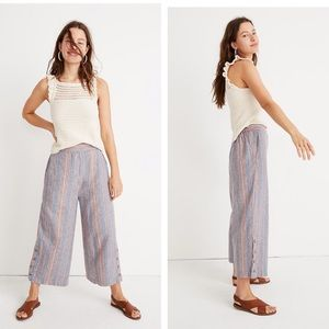 Madewell Side-Button Huston Pull-On Stripe Pants